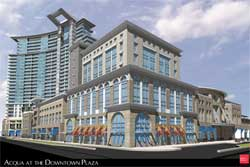 """A rendering of Clearwater Development LLC's proposed """"Acqua"""" downtown redevelopment project that would stand at 377 feet on the north side of Cleveland Street in the AmSouth bank property was displayed for the City Council."""